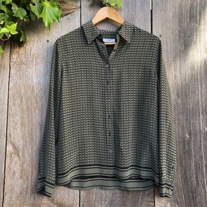Equipment olive green print silk button down shirt